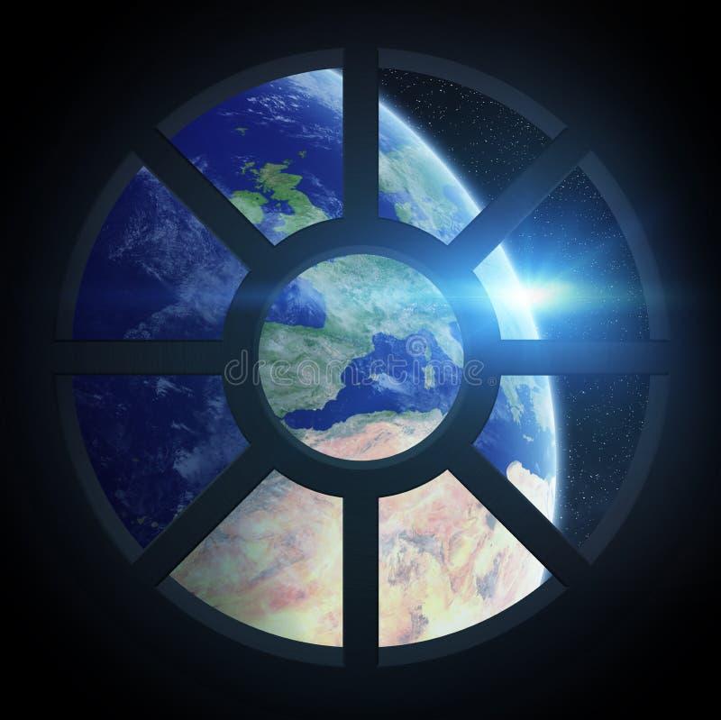 Ansicht von Planet Erde von einer Raumschiffkabine lizenzfreie abbildung