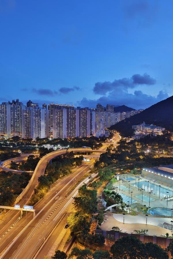 Ansicht von PO Shun Road bei Tseung Kwan O lizenzfreies stockbild