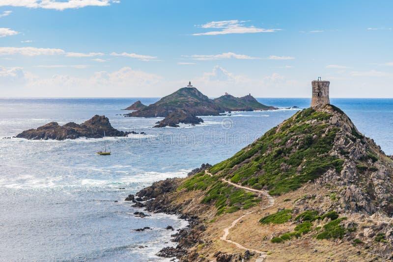 Ansicht von Pointe de la Parata auf der Westküste von Korsika stockfoto
