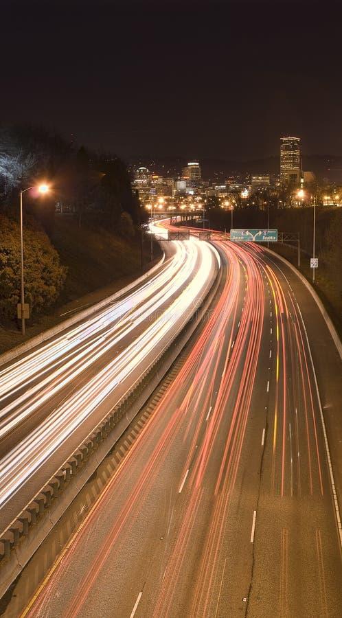 Ansicht von Portland, Oregon nachts stockfoto