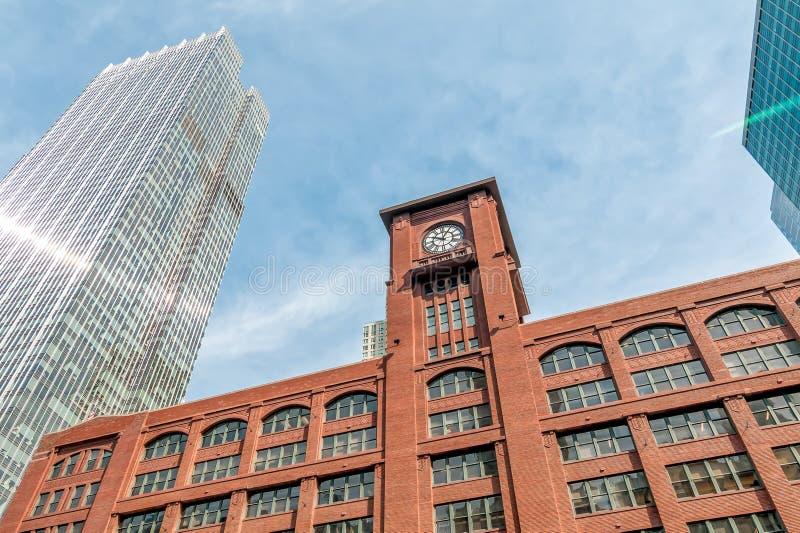 Ansicht von Reid Murdoch Building mit Uhr in Chicago, Illinois stockbilder