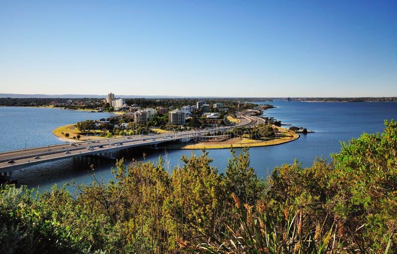Ansicht von Süd-Perth von Park Königs stockfotos