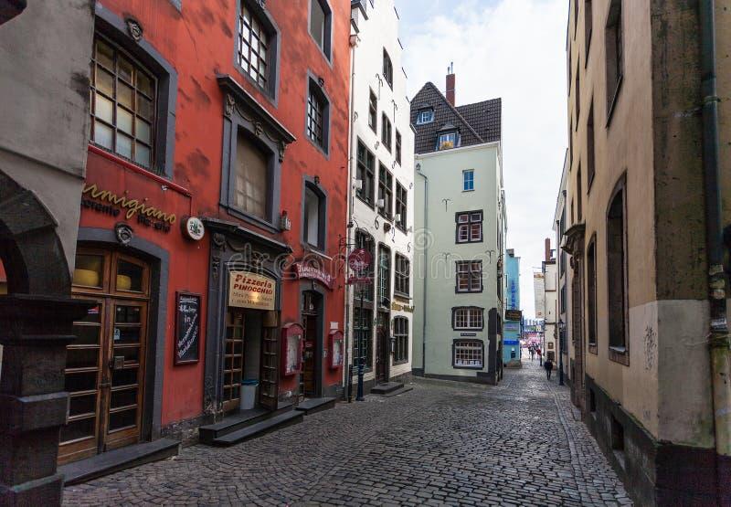 Ansicht von Salzgasse-Straße in der Mitte von Köln-Stadt stockfoto