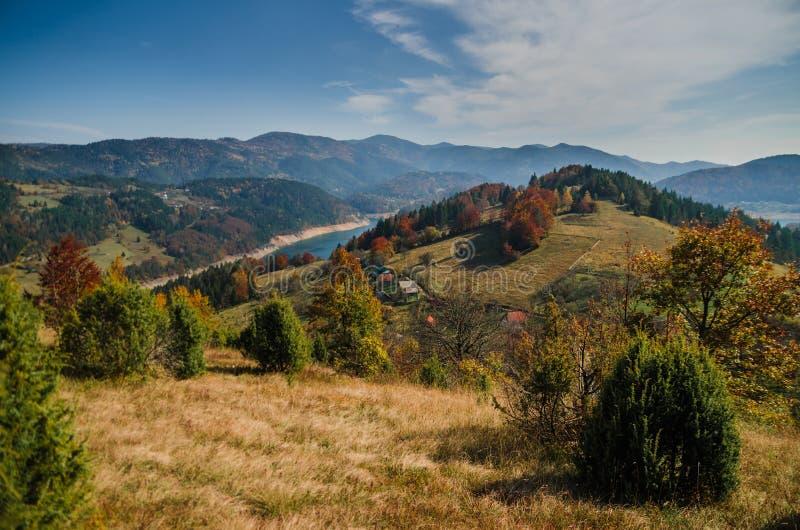 Ansicht von See Zaovine auf Tara-Berg, Serbien lizenzfreies stockbild