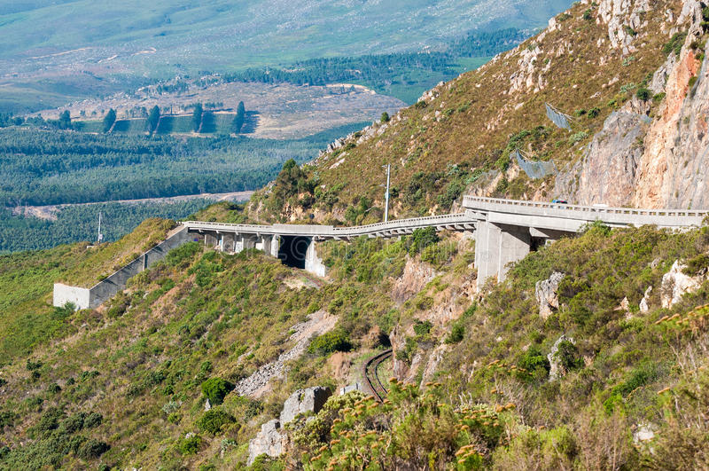Ansicht von Sir Lowreys Pass nahe Somerset West, Südafrika lizenzfreie stockbilder
