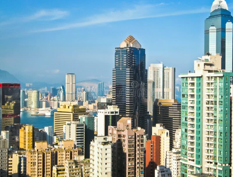 Ansicht von Hong Kong bis zum Tag stockbilder