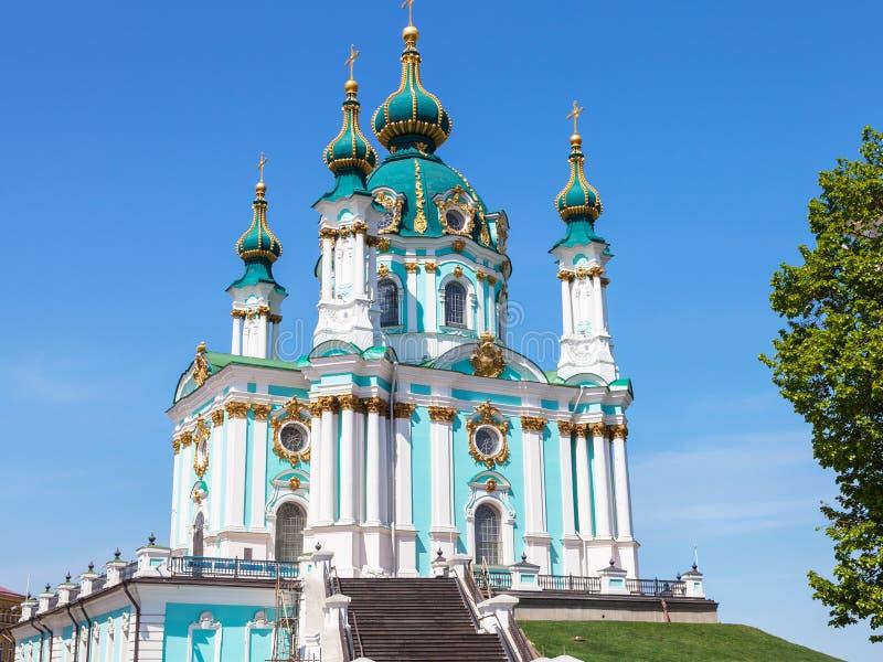 Ansicht von St- Andrew` s Kirche in Kiew-Stadt lizenzfreies stockfoto