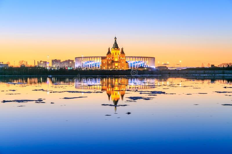 Ansicht von Stadion Nizhny Novogorod, errichtend für die Fußball-Weltmeisterschaft 2018 in Russland lizenzfreie stockfotografie