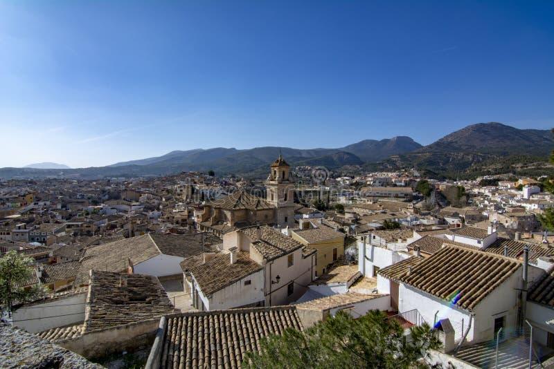 Ansicht von Stadt Caravaca de la Cruz gelegen in Murcia Spanien stockbild