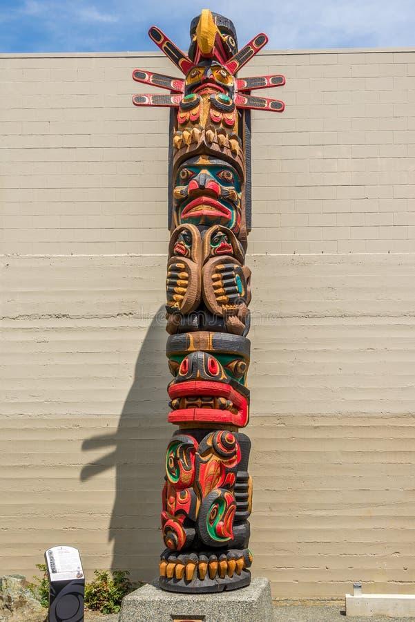 Ansicht von Totems in Duncan - Kanada stockbilder
