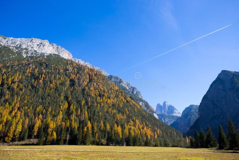 Ansicht von Tre Cime Three Peaks di Lavaredo auf dem Hintergrund in der Herbstzeit, Dolomit , Italien lizenzfreies stockbild