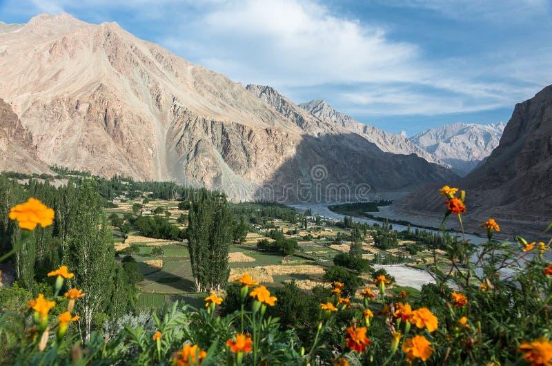 Ansicht von Turtuk-Dorf - Ladakh, Indien stockbild