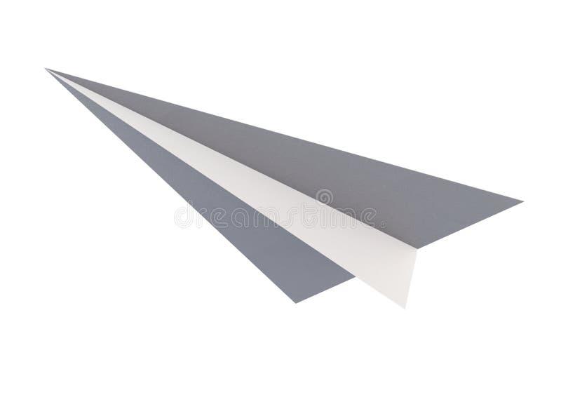 Ansicht von unten des Papierflugzeug-Origamis lokalisiert auf weißem Hintergrund lizenzfreie abbildung