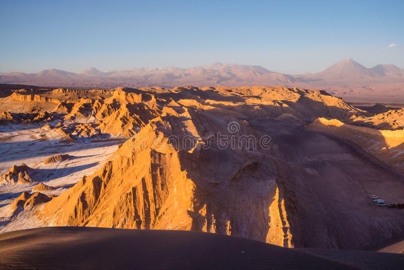 Ansicht von Valle de la Muerte Death Valley auf den Vulkanen Lic lizenzfreies stockfoto