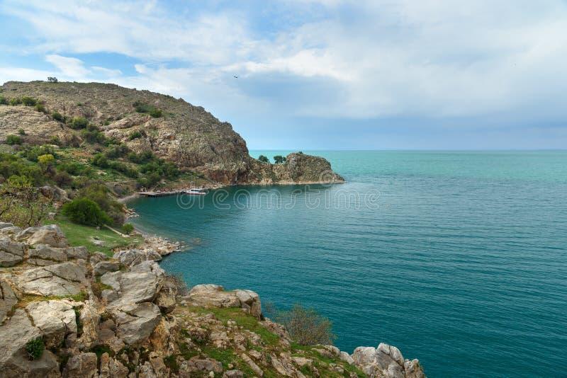 Ansicht von Van lake von Akdamar-Insel in der Türkei lizenzfreies stockbild