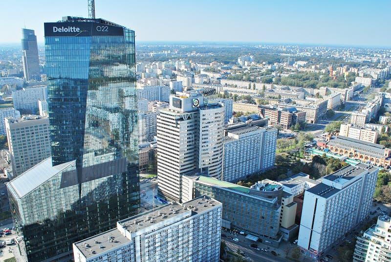 Ansicht von Wolkenkratzern und moderne Architektur vom Weltwohngebäude stockfotos