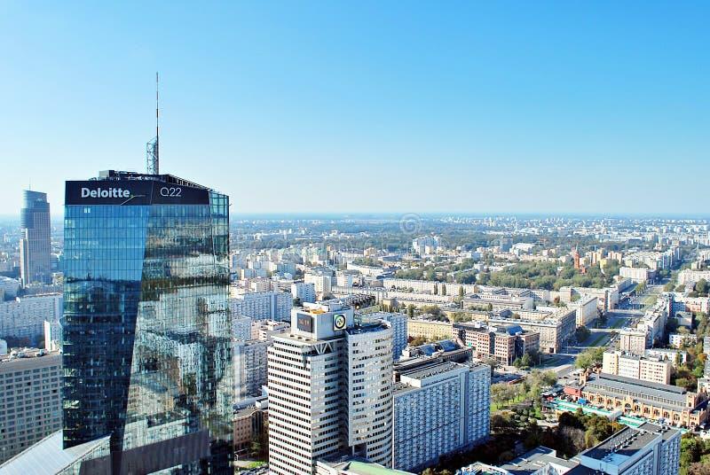 Ansicht von Wolkenkratzern und moderne Architektur vom Weltwohngebäude stockfotografie