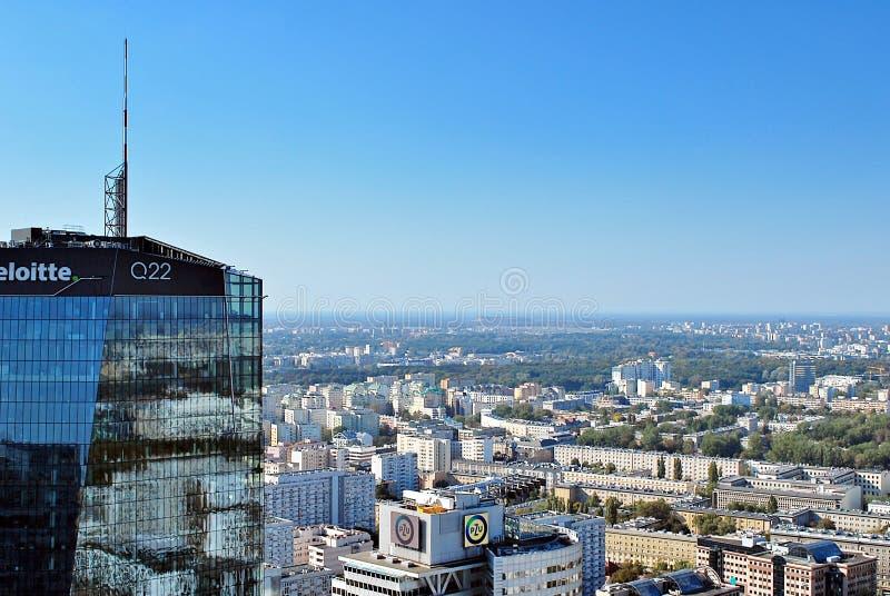 Ansicht von Wolkenkratzern und moderne Architektur vom Weltwohngebäude stockbild