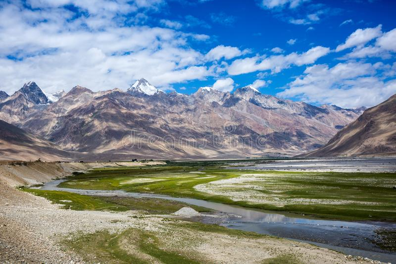 Ansicht von Zanskar-Tal stockbilder