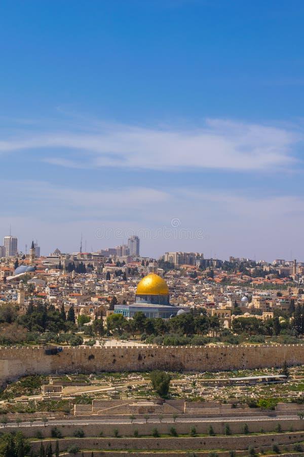 Ansicht zu alter Stadt Jerusalems lizenzfreies stockbild