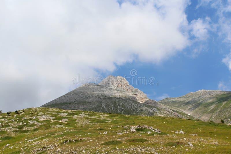 Ansicht zu Camicia-Berg, Abruzzo, Italien stockbild