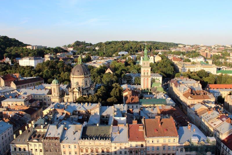Ansicht zu den Hausdächern in Lvov-Stadt lizenzfreies stockfoto