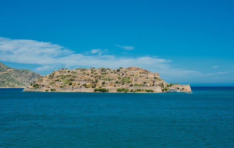 Ansicht zu Spinalonga-Insel, Griechenland, Kreta, panoramisch lizenzfreie stockfotografie
