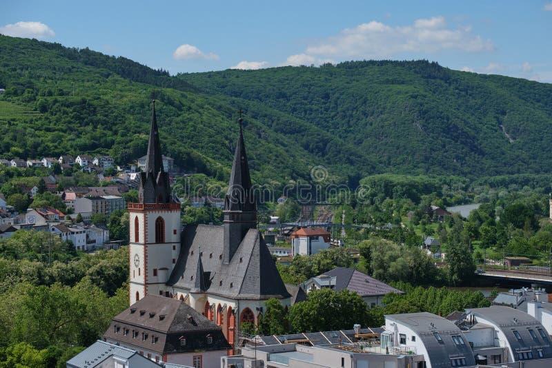 Ansicht zu St. Martin Basilica in Bingen, Deutschland stockbild