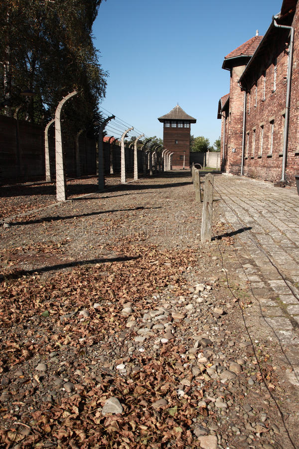 Ansicht, zum des Kontrollturms, Auschwitz zu überwachen lizenzfreies stockfoto