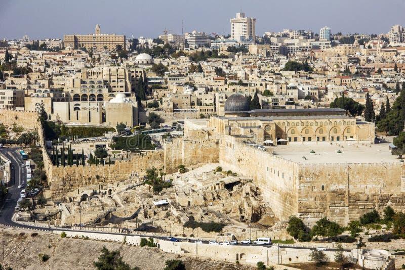 Ansicht, zum des Tempels, Felsendom anzubringen vom Ölberg in Jerusalem, Israel stockbild