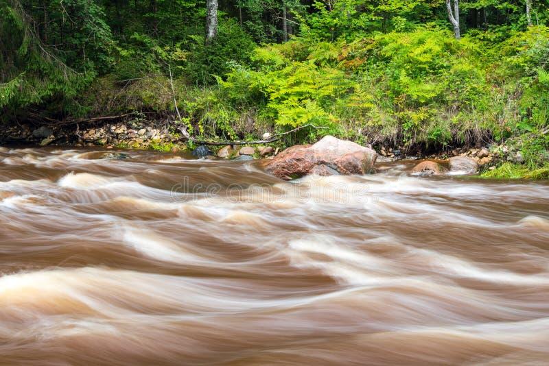 Ansicht zum Gebirgsfluss mit flüssiges Wasser Strom und sandsto lizenzfreies stockbild
