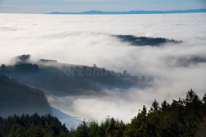 Ansicht zum nebeligen Rhein vally vom schwarzen Wald lizenzfreies stockbild