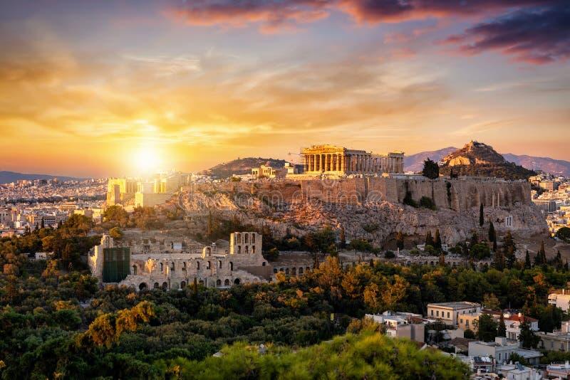 Ansicht zum Parthenon-Tempel an der Akropolise von Athen, Griechenland lizenzfreie stockfotografie
