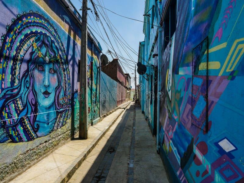 Ansichtblau Chiles Street Art stockfoto