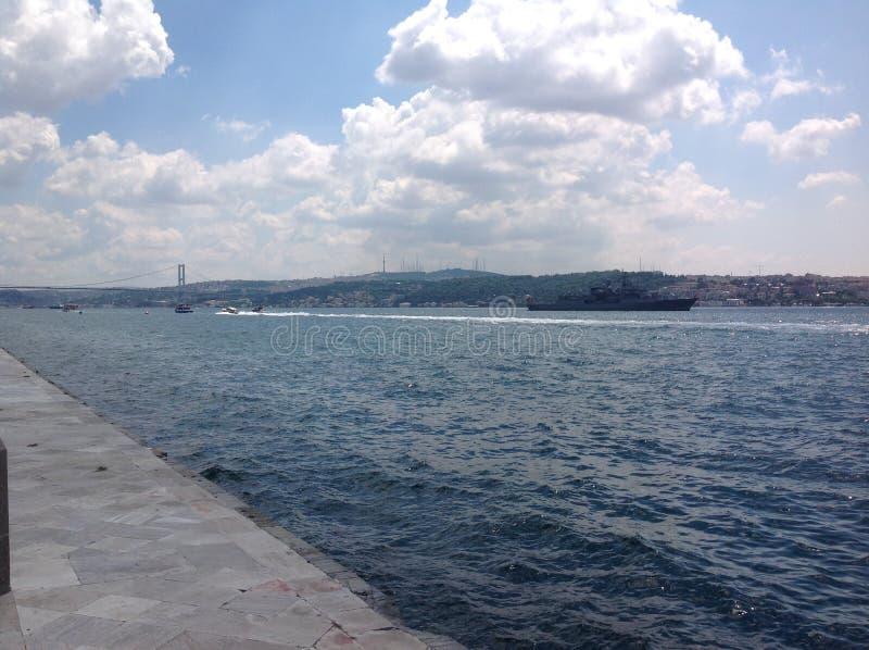 Ansichten des Bosphorus vom Dolmabahce-Palast, Istanbul, die Türkei lizenzfreie stockfotos