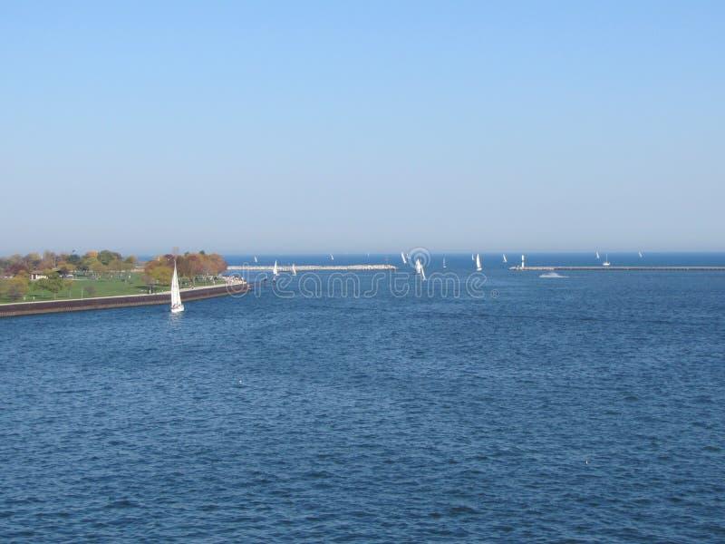 Ansichten des Michigansees -- ein großer See stockfotografie