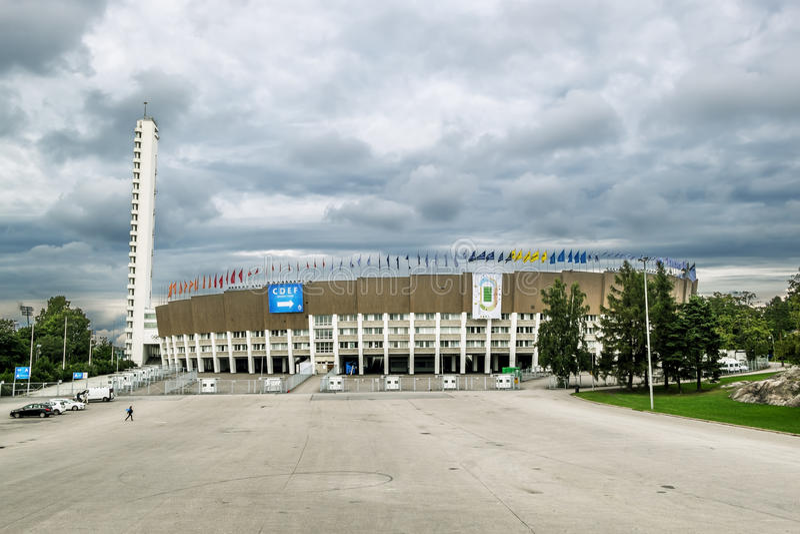 Ansichten des Olympiastadions in Helsinki finnland stockfotos