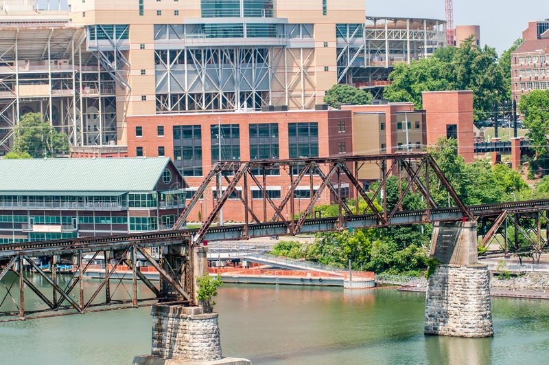 Ansichten von Knoxville Tennessee im Stadtzentrum gelegen am sonnigen Tag lizenzfreie stockfotos