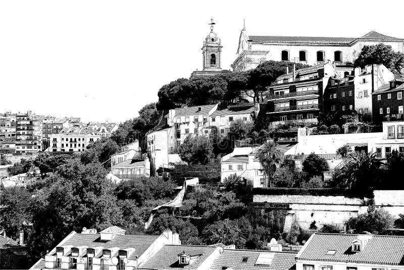 Ansichten von Lissabon Graphica stich Rebecca 6 stock abbildung