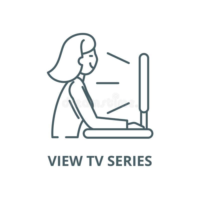 Ansichtfernsehserie-Vektorlinie Ikone, lineares Konzept, Entwurfszeichen, Symbol vektor abbildung