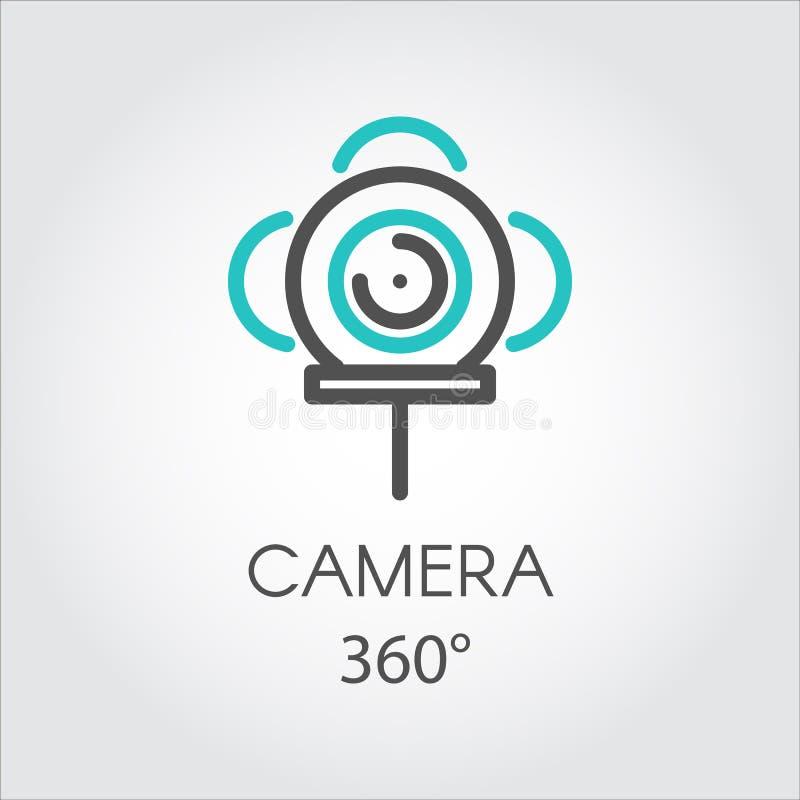 Ansichtkamera der Technologie 3D der Farblinieikone neue 360 Grad vektor abbildung