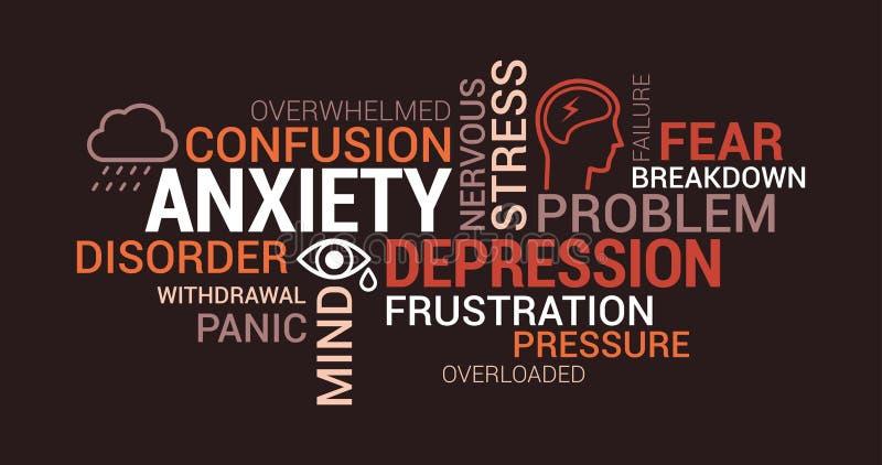 Ansiedad, trastornos mentales y nube de la etiqueta de la depresión libre illustration