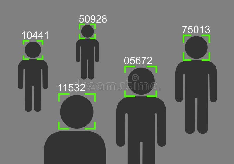 Ansikts- erkännande - bevakning, övervakning och kontroll stock illustrationer