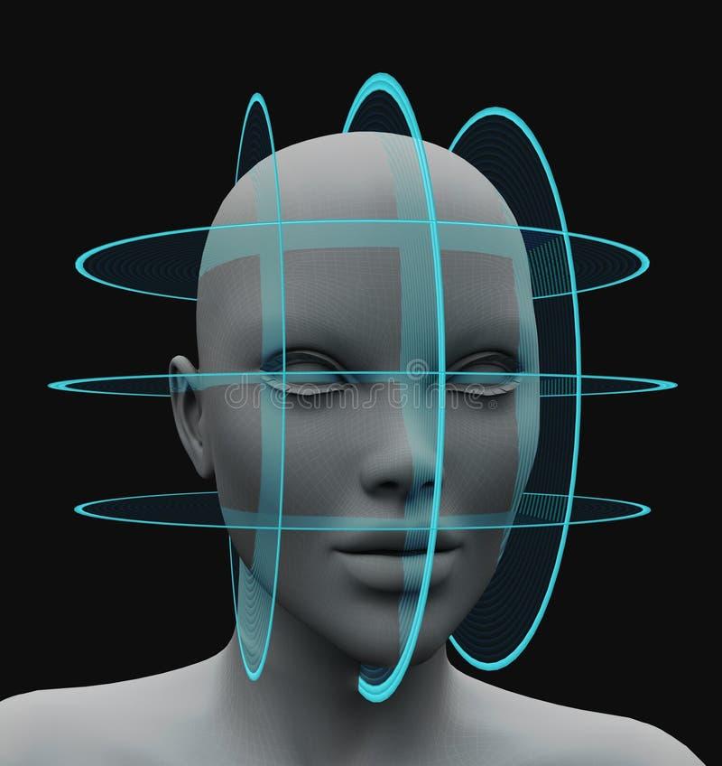 Ansikts- erkännande för sfärisk scanning utan hår stock illustrationer
