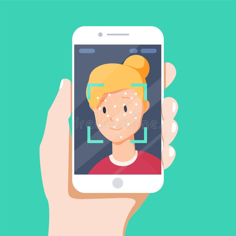 Ansikts- erkännandebegrepp Framsidalegitimation, system för framsidaerkännande Hållande smartphone för hand med det mänskliga huv vektor illustrationer