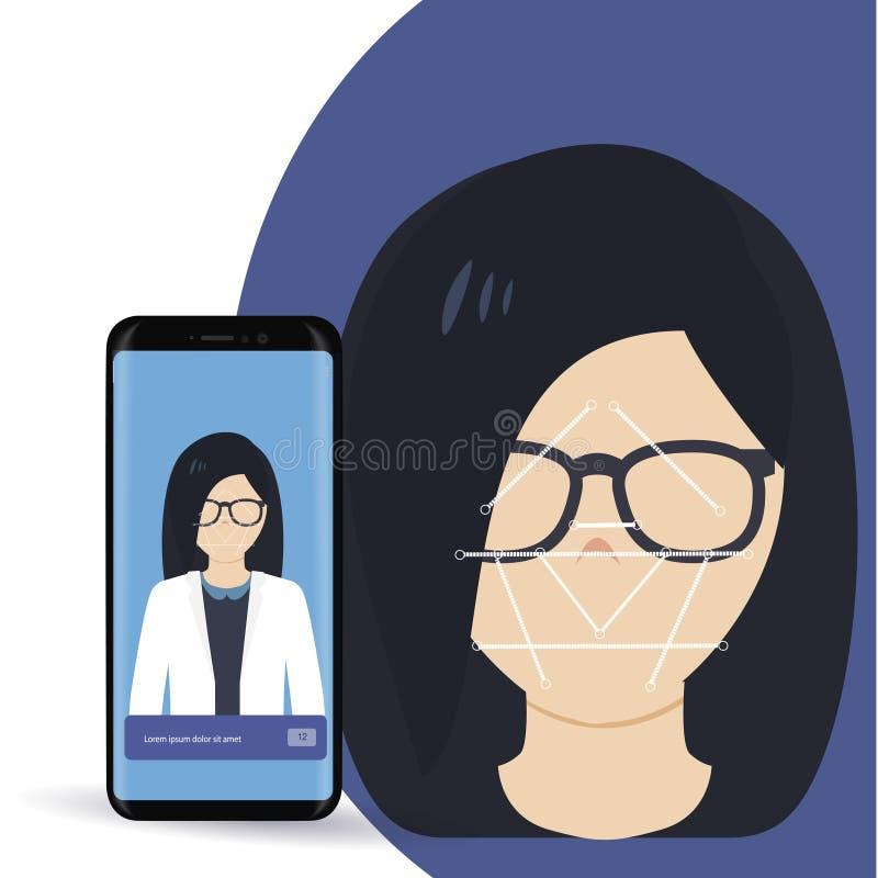 Ansikts- erkännandebegrepp Framsidalegitimation, system för framsidaerkännande Räcka den hållande smartphonen med det mänskliga h royaltyfri illustrationer
