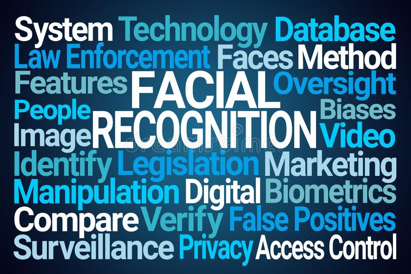 Ansikts- erkännandeordmoln vektor illustrationer
