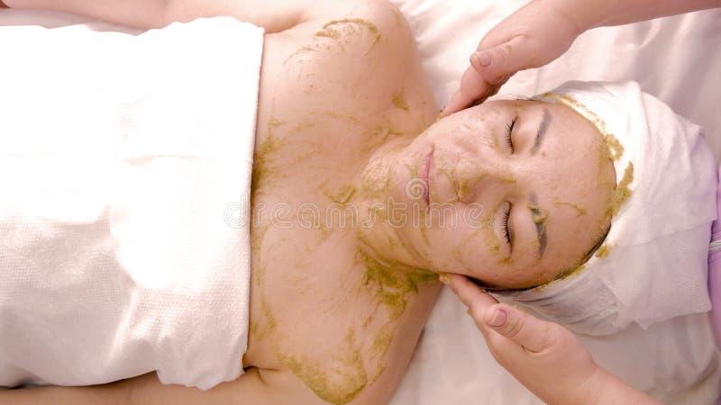 Ansikts- kosmetisk maskering som baseras på gröna alger Avkopplad asiatisk kvinna som vilar i brunnsort cosmetology Kropp- och fr royaltyfria bilder
