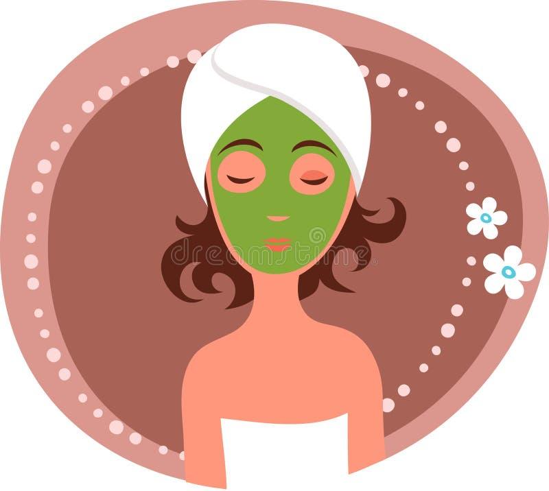 Ansikts- massage stock illustrationer