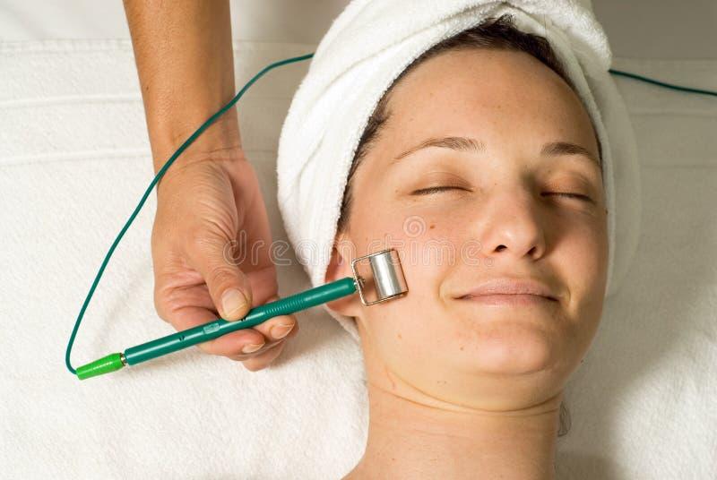 ansiktsbehandling som får horisontalkvinnan arkivfoton